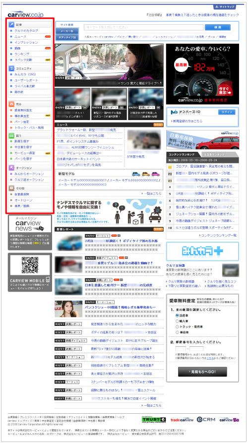 「carview.co.jp」トップページの主な変更点